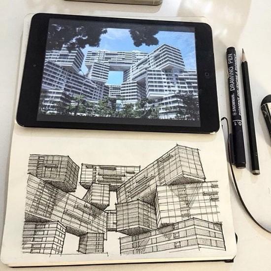 interlace singapore sketch by artriapratomo via archisketcher