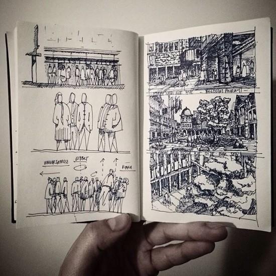 storyboard sketching by hcenkdereli via archisketcher