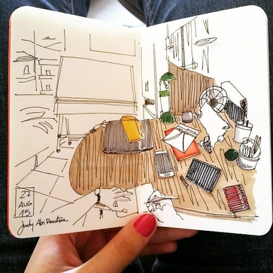 championing drawing desk sketches